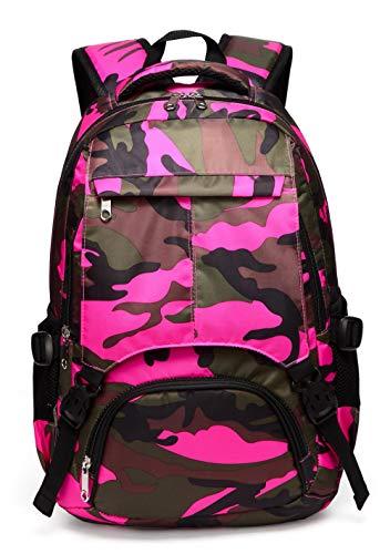 Kids School Backpacks for Girls Boys School Bags Bookbags for Children (Camouflage Hot Pink)