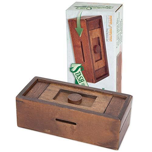 Bits and Pieces - Stash Your Cash - Secret Puzzle Box Brainteaser - Wooden Secret Compartment Brain Game for Adults