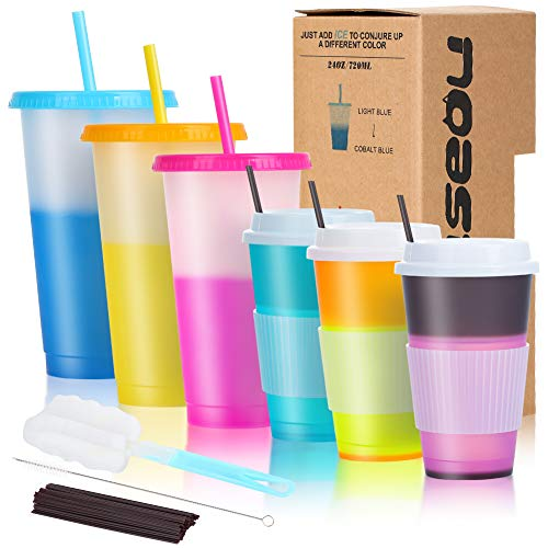 6PCS Color Changing Cups with Lids Straws - 3 Cold Drink Tumblers 24oz - 3 Reusable Hot Coffee Cups 16oz
