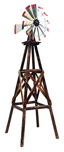 Leigh Country TX93485 Char-Log Rustic 9ft Wooden Windmill As Decoration For Hobby Farm, Vegetable Garden, Suburban Yard, Sprawling Ranch, Galvanized Steel Head, 38' L x 38' W x 108' H