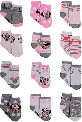 Disney Baby Girls' Socks - 12 Pack Minnie Mouse, Daisy, Disney Princess (Newborn/Infant), Minnie Pink/White/Grey, Age 12-24 Months