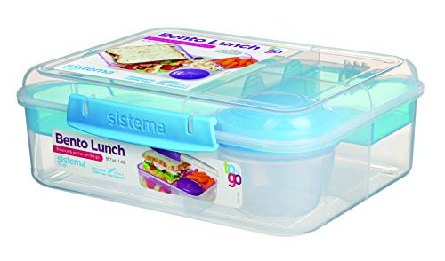 Sistema To Go Collection Bento Box Plastic Lunch and Food Storage Container, 6.9 Cup, Multi Compartment (Color May Vary)