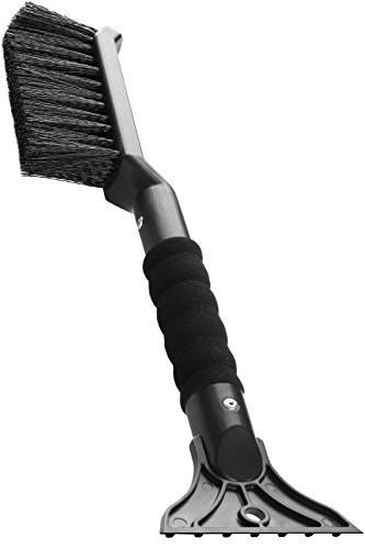 OxGord 2-in-1 Ice Scraper & Snow Brush - No Scratch w/Soft Bristle Best for Frost Remover & Broom Removal Tool - Auto Windshield Window Cleaning Kit - Heavy Duty Winter Car Accessories w/Grip Handle
