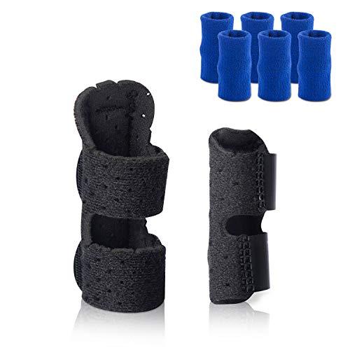 Finger Splints 2 Size Pack with 6 Finger Sleeves, Adjustable Finger Brace Thumb Splint for Broken Finger Tendon Pain Relief, Comfortable & Breathable, Built-in Aluminium Support Trigger