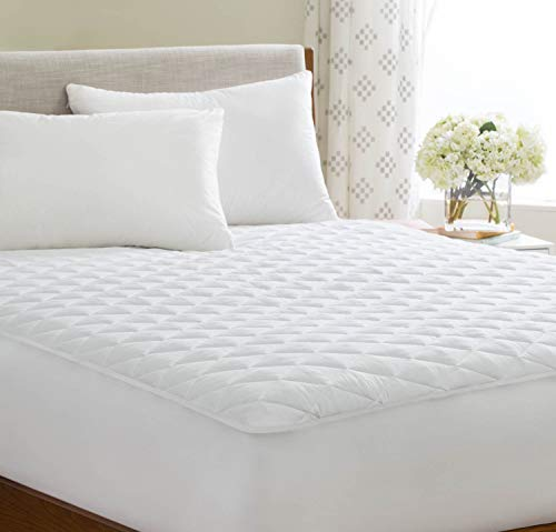Linenspa Waterproof Quilted Mattress Pad - Hypoallergenic Fill - Deep Pocket Fitted Skirt - Twin XL