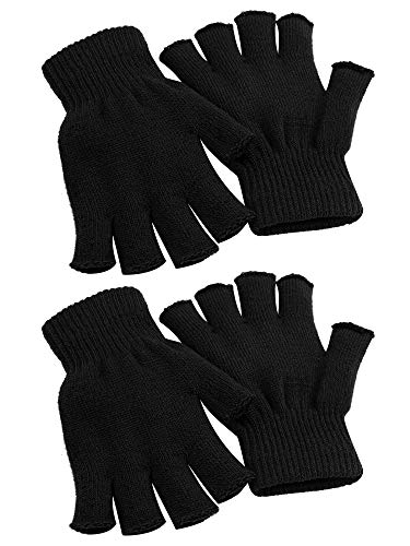 Cooraby 2 Pairs Unisex Warm Half Finger Gloves Winter Fingerless Gloves (L for Adults, M for Teens, S for Kids)