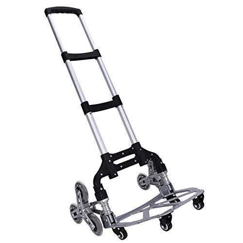 Stair Climbing Cart WOQED Stair Climbing Hand Trucks Folding Hand Truck Aluminum Alloy 10-Wheel Trolley Folding All Terrain Lightweight Hand Truck Quiet Large Tires, Luggage Moving Outdoor,Indoor