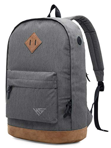 936Plus Casual Backpack College School Laptop Bookbag Water Resistant Work Travel Rucksack, Grey