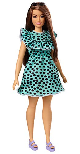 Barbie Fashionistas Doll #149 with Long Brunette Hair Wearing Graphic Black & Aqua Polka-Dot Dress, Purple Sandals & Sunglasses, Toy for Kids 3 to 8 Years Old