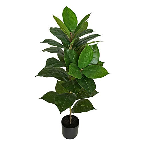BESAMENATURE 40' Artificial Rubber Tree Plant - Ficus Tree - Faux Tropical Tree for Home Office Decoration, Green