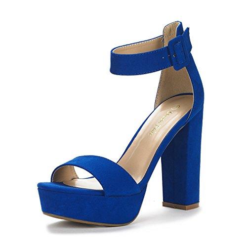 DREAM PAIRS Women's Hi-Lo Royal Blue High Heel Platform Pump Sandals - 8.5 M US
