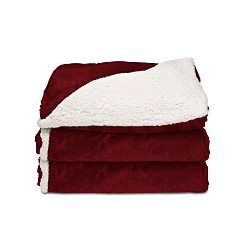 Sunbeam Heated Throw Blanket   Reversible Sherpa/Royal Mink, 3 Heat Settings, Garnet - TRT8WR-R310-25A00