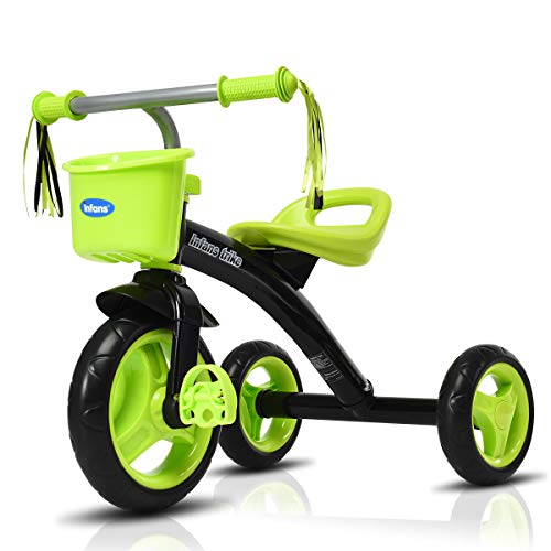 INFANS Kids Tricycle Rider with Adjustable Seat, Storage Basket, Premium Quiet Wheels, Non-Slip Handle (Green)