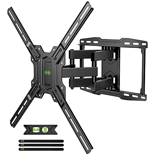 USX MOUNT Full Motion TV Wall Mount Max VESA 600x400mm for Most 42-75 inch Flat Screen TVs, TV Mount Bracket Dual Swivel Articulating Tilt 6 Arms Up to 16' Wood Stud, Weight Capacity 100lbs