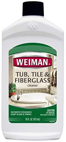 Weiman Bath Tub Cleaner - 16 Ounce - Fiberglass Cleaner for Bathrooms, Tile Tub and Fiberglass Whirlpool Spa Jacuzzi Hot Tub Jet Tubs