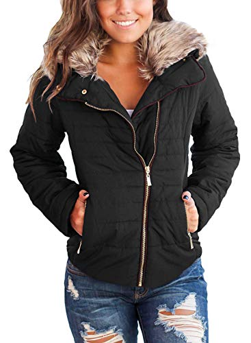 Vetinee Women Casual Faux Fur Lapel Zip Pockets Quilted Parka Jacket Puffer Coat Black Medium (Fits US 8-US 10)
