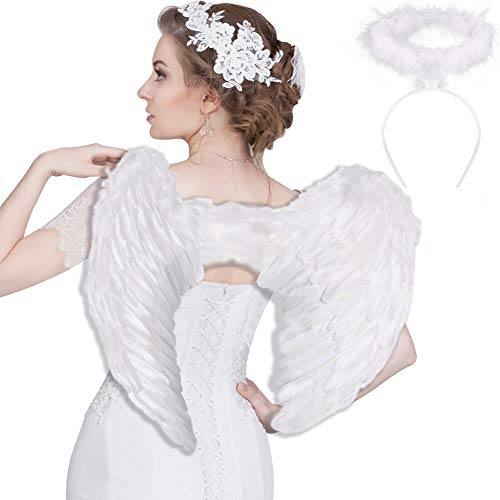 SEVADA Angel Wings Costume for Adult, Halloween Angel Costumes for Adults Women Men, Christmas White Feather Angel Wing for Kids Girls Child Teen Boys Children
