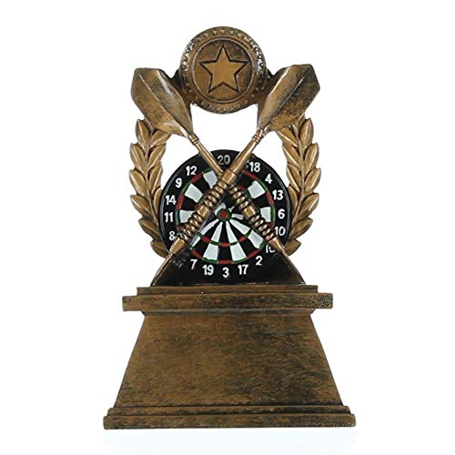 Decade Awards Darts Wreath Trophy - Colored Dart Board Award - 7 Inch Tall - Engraved Plate on Request