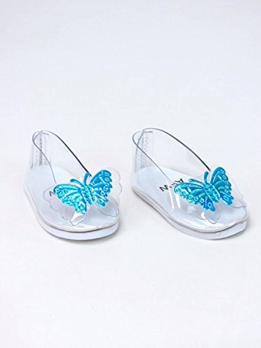 American Fashion World Blue Butterfly Glass Slippers made for 18 inch dolls such as American Girl dolls