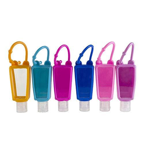 HYAT 5PCS Empty Box Kids Hand Sanitizer Travel Sized Holder Keychain Keyring Carriers 30ML Flip Cap Reusable Portable Empty Bottles (5 Colors Random Pack MIXED)