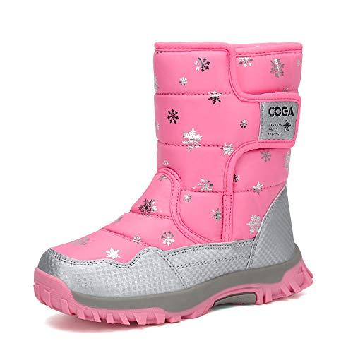 Mishansha Girls Boys Toddler Little Big Kids Winter Fur Snow Boots Warm Water Resistant Antislip Outdoor Shoes Pink