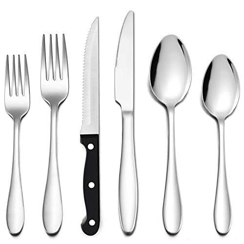 LIANYU 72-Piece Silverware Set with Steak Knives, Stainless Steel Flatware Cutlery Set for 12, Fork Spoon Knife Set Eating Utensils Tableware, Dishwasher Safe