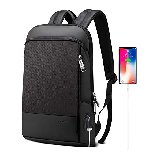 BOPAI Slim Laptop Backpack 15 inch USB Charging Backpack for Men Water Resistant College Laptop Backpack Office Anti Theft Backpack Smart Computer Backpack Black …