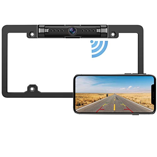 License Plate Wireless Backup Camera - IP69 Waterproof Night Vision License Plate Frame Camera for Cars, Trucks, Vans, Pickups, SUVs, WiFi Backup Camera for iPhone/Android Phone, Guide Lines On/Off