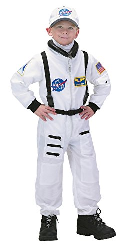 Aeromax Jr. Astronaut Suit with Embroidered Cap and NASA patches, WHITE, Size 2/3