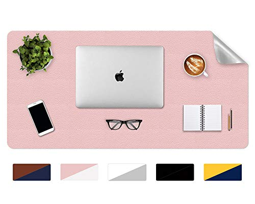 PU Leather Desktop Pad Laptop Computer Desk Mat 17 x 36 inch Desk Protector Pad for Writing, Office Desk Accessories and Organizers, Desk Items for Women/Girls (Pink & Glitter Silver)