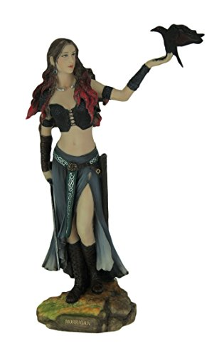 Veronese Resin Statues Morrigan The Celtic Goddess Of Battle W/Crow & Sword Statue 6.5 X 10.25 X 3 Inches