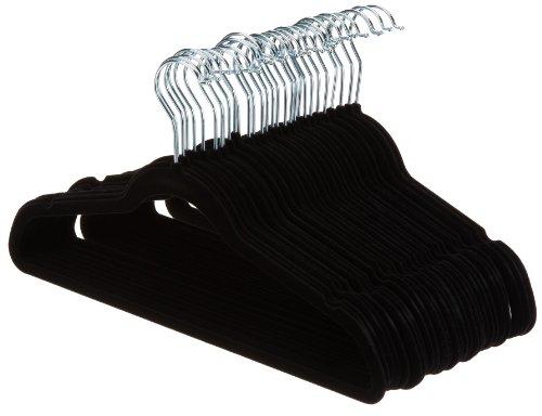 AmazonBasics Slim, Velvet, Non-Slip Clothes Suit Hangers, Black/Silver - Pack of 30