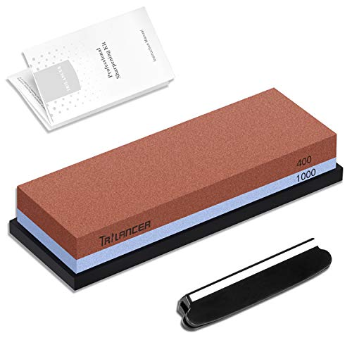 Whetstone 400/1000 Knife Sharpening Stone, 2-Sided Knife Sharpener, Trilancer Japanese Style Waterstone Kit, Angle Guide and Rubber Base Included
