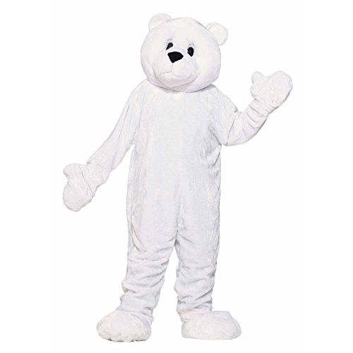 Forum Deluxe Plush Polar Bear Mascot Costume, White, One Size
