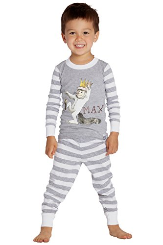 Where The Wild Things Are Boys' Toddler Max' Cotton Pajama Set, Gray, 3T