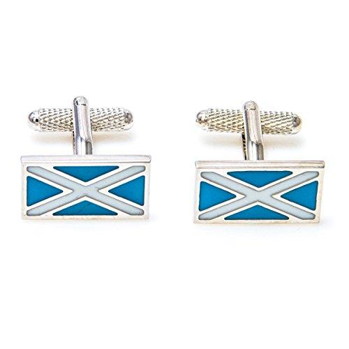 MRCUFF Scotland Flag Pair Cufflinks in a Presentation Gift Box & Polishing Cloth