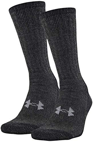 Under Armour Adult Hitch Coldgear Boot Socks, 2-Pairs, Black, Shoe Size: Mens 8-12, Womens 9-12