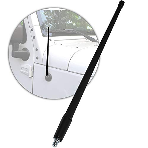 Radio Antenna Mast Compatible with 2007-2021 Jeep Wrangler -AM FM Signal -Flexible Rubber 13' Inch Replacement