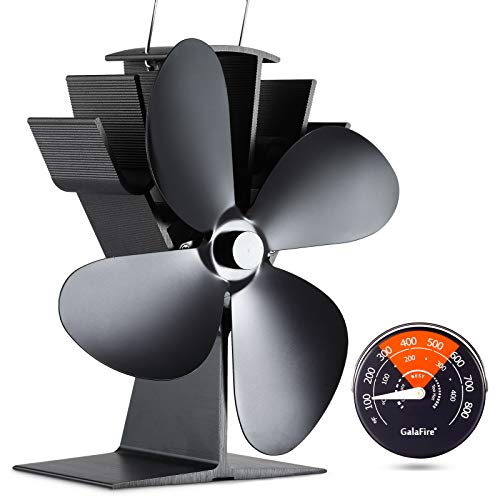 GALAFIRE [ 2 Years ] 122°F Start Silent Heat Powered Wood Stove Fan 4 Blade Black Small for Gas/Pellet/Wood/Log Burning Stoves + Thermometer
