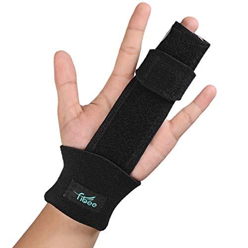 Fibee 2 Finger Splint Trigger Finger Splint, Adjustable Two Finger Splint Full Hand and Wrist Brace Support, Metal Straightening Immobilizer Treatment for Sprains, Mallet Injury, Arthritis(S/M)