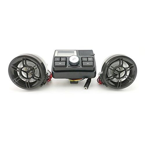 HANSWD Motorcycle Handlebar Speakers  FM Radio System & MP3 Player W/U-disk & SD Card Reading Capability  Remote Control Anti-Theft Police Guard-Alarm (B)