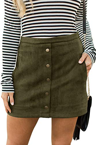 Meyeeka Faux Suede Clubwear for Women Retro High Waist Button Front Stretch Mini Skirt M Army Green