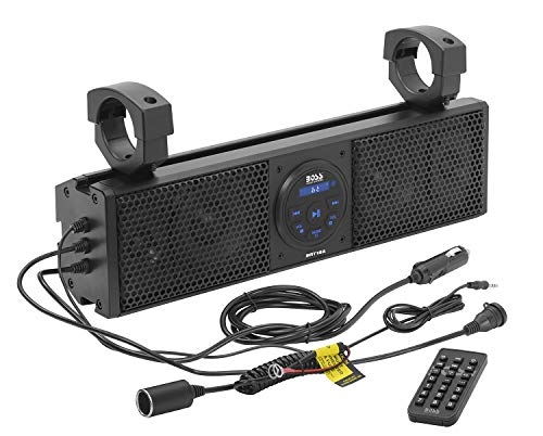 BOSS Audio Systems BRT18A ATV UTV Sound Bar System - 18 Inches Wide, IPX5 Rated Weatherproof, Bluetooth, USB, Amplified, 4-inch Speakers, 1 Inch Tweeters, Easy Installation for 12 Volt Vehicles