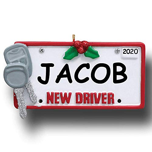Rudolph and Me Personalized 2020 New Driver Car License Plate Tag with Keys Christmas Tree Ornament Gift with Custom Name