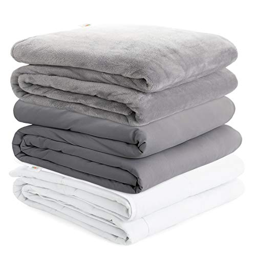 Degrees of Comfort Cooling Weighted Blanket Queen Size Bed, 1 x Cozyheat Warm Minky Plush, 1 x Coolmax Washable Removable Covers Included   Micro Glass Beads Technology   60x80 20lbs Grey