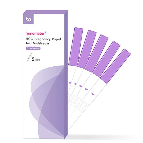 Pregnancy Tests, Femometer HCG Pregnancy Rapid Test Strips Early Detection Pregnancy Tests Kit 25 MIU/ml with Fast and Accurate Results (5 Counts)