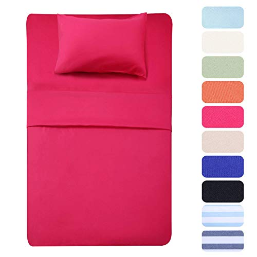 Best Season 3 Piece Bed Sheet Set (Twin,Hot Pink) 1 Flat Sheet,1 Fitted Sheet and 1 Pillow Cases,100% Super Soft Brushed Microfiber 1800 Luxury Bedding,Deep Pockets &Wrinkle,Fade Resistant