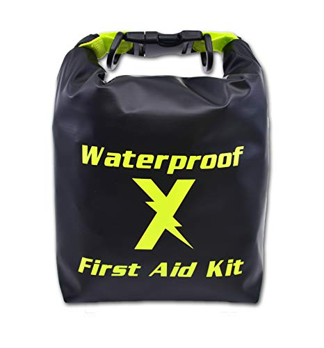 Lightning X Waterproof Hi-Vis First Aid Kit - 104 Pieces w/Dry Bag for Emergency, Survival, Camping, Boating, Hiking & Sports
