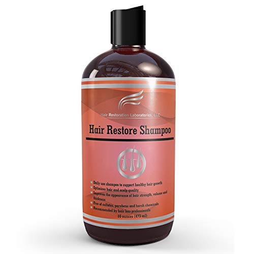 Hair Restoration Laboratories Hair Restore Shampoo, DHT Blocker to Prevent Hair Loss, Sulfate-Free for Color Treated Hair, Effective Daily Use Hair Thickening Thinning Hair for Men and Women, 16 oz