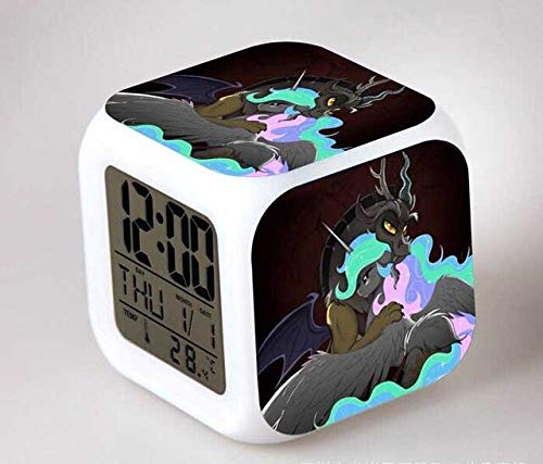 N/J Birthday Presents for The Children's Bedroom My Little Pony Night Light LED 7 Color Flash Changing Digital Alarm Clocks Bedroom Wake Up Clock Rainbow Dash,Clear